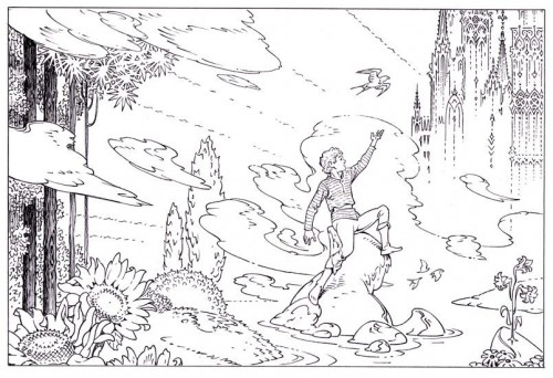 Endpaper designs for THE FAIRY TALES OF OSCAR WILDE V.5: THE HAPPY PRINCE