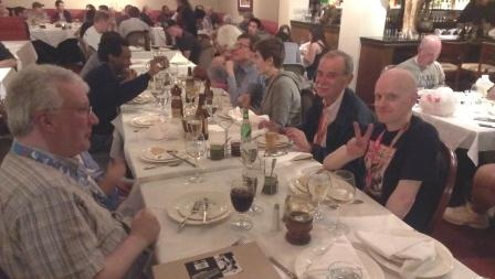 At a dinner at the Royal India in the Gaslamp Quarter, from left: Jim Salicrup, ed.in chief at Papercutz, Stan Goldberg's wife, Cornnell, me, Brooke, Stan, famous Archie artist and now artist on Papercutz' 3 Stooges and Nancy Drew and Jolyon Yates, artist on Ninjago.
