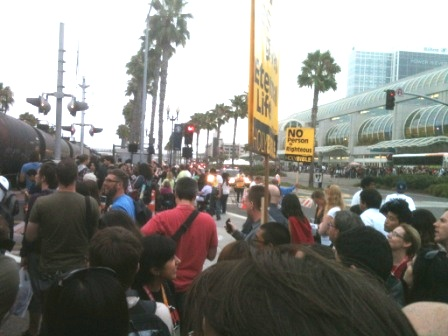 ...and only in San Diego: an endless freigh train lumbering past the Con. ctr. while thousands of fans wait to be able to leave the ctr!!