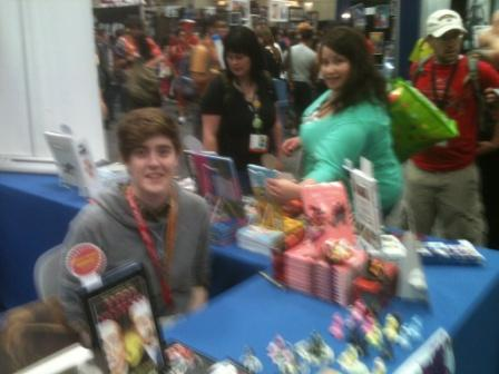 Fuzzy sorry, but Brooke Allen signing her Home for Mr. Easter and showing off all her fun little cast bunnies. Catch her at SPX, she'll have those with her.